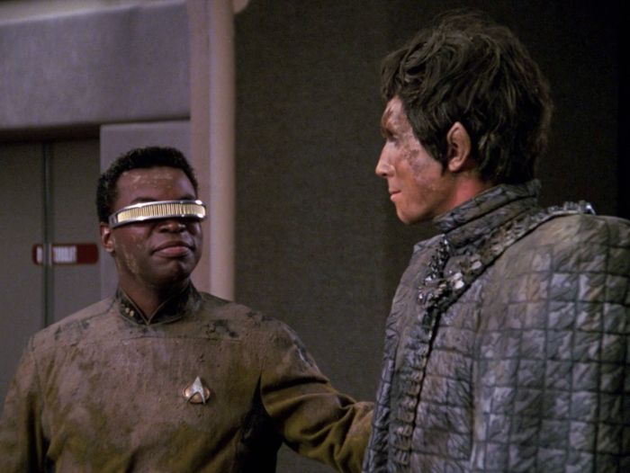 Geordi and the Romulan, rescued